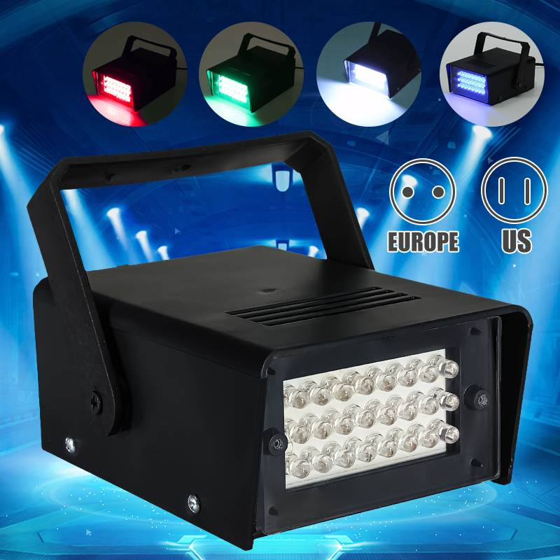 Smuxi AC220V Brightness 3W 24LED Operated DJ Strobe Flash Lights Disco Party Club Stroboscope White  Light Effects EU Plug