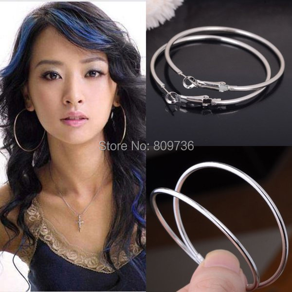 1pair New Silver Plated Round Large Huggie Loop Hoop Earrings For Women Party Jewelry Gift