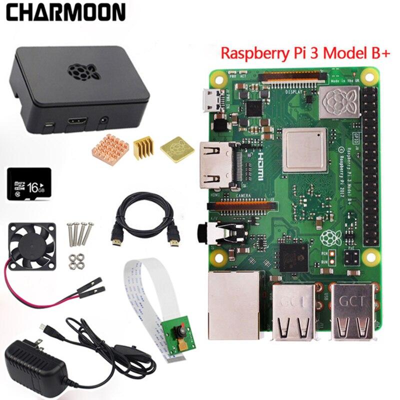 Carte d'origine Raspberry Pi 3 modèle B + plus + dissipateur de chaleur + adaptateur secteur alimentation secteur Supply.1GB LPDDR2 Quad-Core WiFi & Bluetooth
