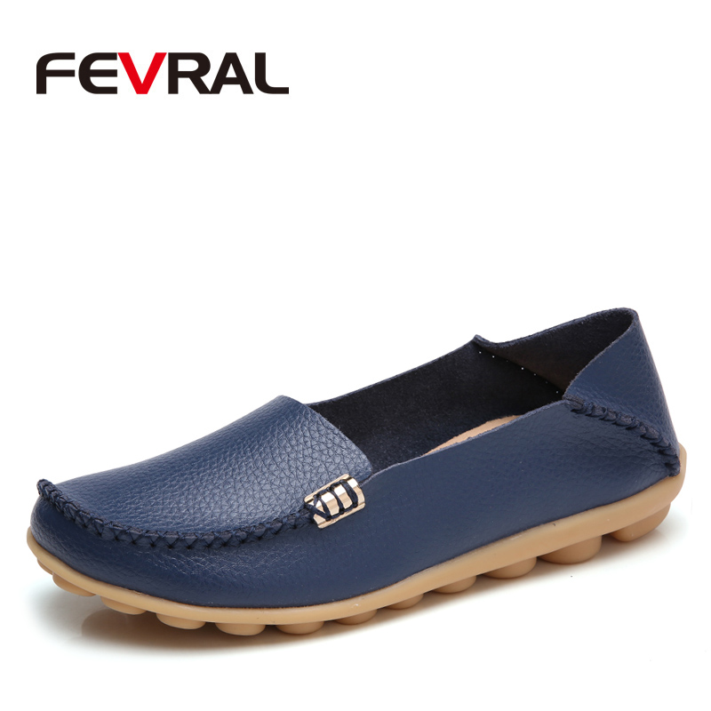 FEVRAL New Fashion Flats Women Shoes Flat Loafers Casual Ladies Slip Cow Driving Boat Shoes footwear Genuine Leather Size 34-44 flat shoes women pu leather women s loafers 2016 spring summer new ladies shoes flats womens mocassin plus size jan6