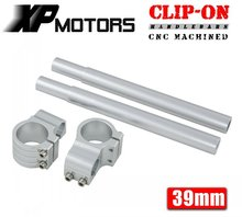 A Pair Silver Motorcycle  Racing  Billet CNC 39mm Clip On Handlebars 1″ Bar Fits For Harley Davidson Sportster XL883 1200