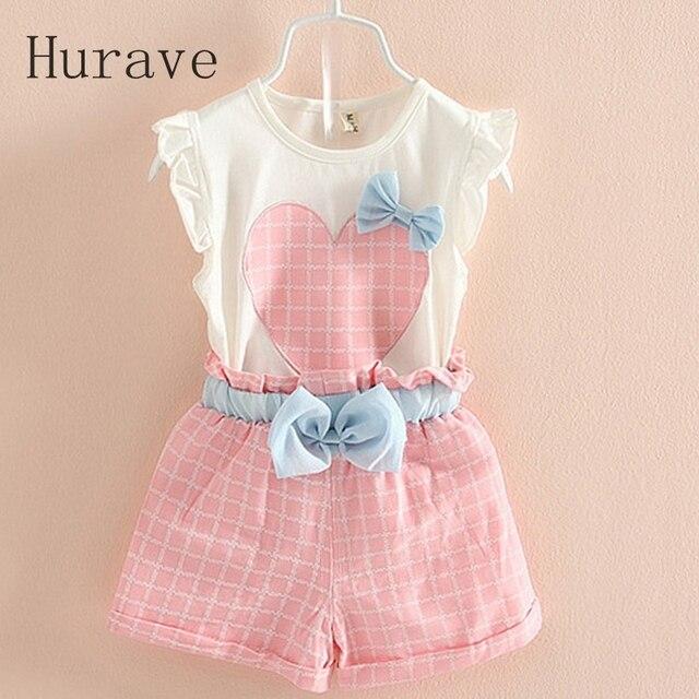83219a2dc Hurave 2019 verano coreano bebé Niñas Ropa conjunto niños arco corazón  camiseta + Pantalones cortos traje