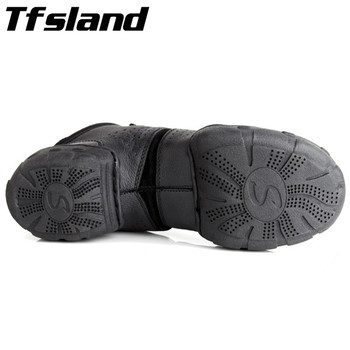 Buckle Mens Shoes | Tfsland Black Original Women Men Modern Salsa Jazz Dance Shoes Genuine Leather Breathable Soft Dance Sneakers Plus Size 46 28cm