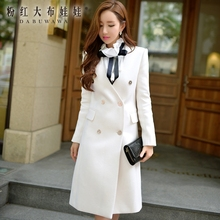 dabuwawa 2016 new big sizes autumn winter fashion maxi coat double breasted fashion wool jacket long white pink doll pink doll