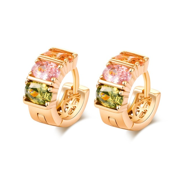 New Arrival Oval Colorful Zirconia Huggie Earrings Wholesale  Yellow Gold Filled Hollow Out Hoop Earrings for Women Gift