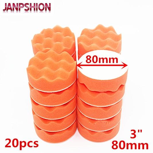 JANPSHION 20PC 80mm Car Polisher Buffer Pads Wave Sponge Gross Polishing Buffing Pad 3