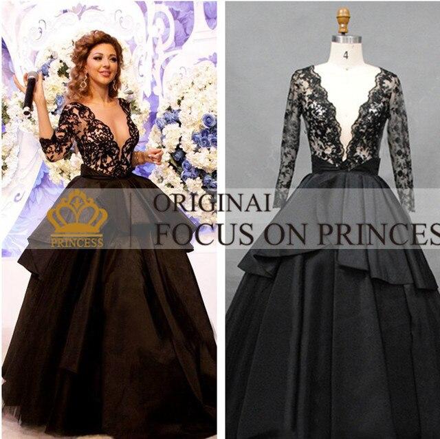 2cb037b71e85 Vente chaude CheapArabic myriam fares robe réel photo manches longues robe  de bal robes de célébrités