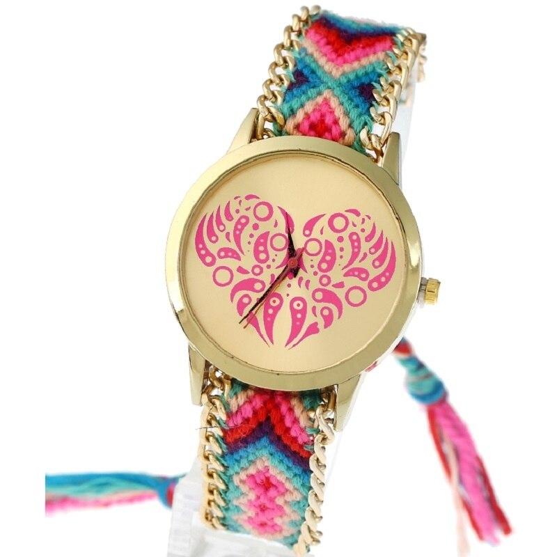 Gnova Platinum Heart Watch Women Rainbow Braided Indian Style Ethnic Hippie Lace Golden Chain quartz wristwatch A707