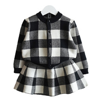 Fashion Girls Fall Winter Grid Coat + Skirt Clothes Set Children Long Sleeve Casual Suits Knitted Clothing Sets for Kids C74