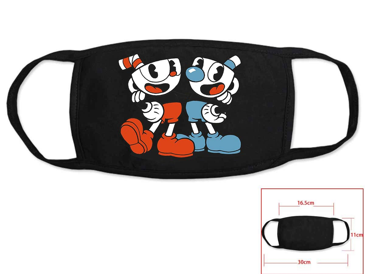 Hot Game Cuphead Cosplay Black Face Collection Gift Hip Hop Fashion Mask Unisex With Cuphead Logo