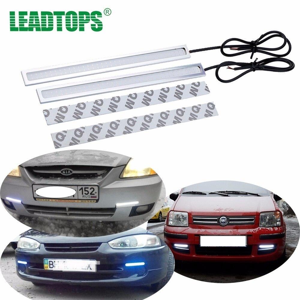 LEADTOPS 2Pcs 14-17CM LED COB DRL Daytime Running Light Waterproof DC12V-White External Led Car Styling Source Parking BJ