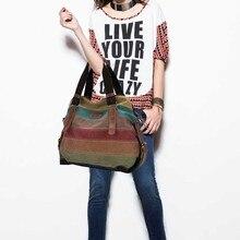 Neue Mode-Design Frauen Leinwand Gestreiften Crossbody Taschen Vintage Kontrast Farbe Leinwand Tote Handtaschen LT88