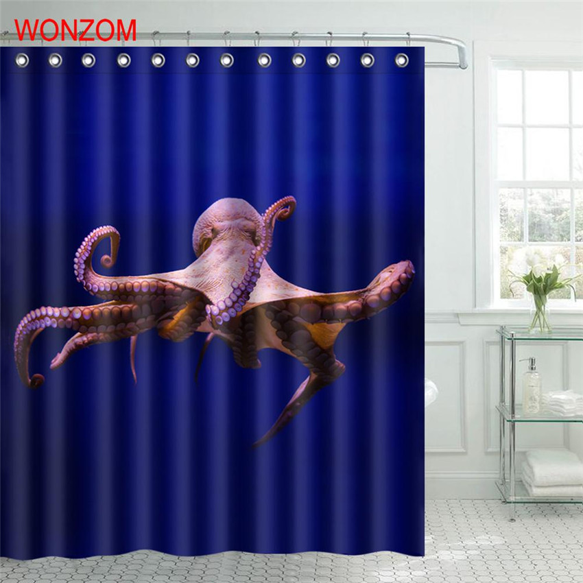 WONZOM 1Pcs Sea Lion Waterproof Shower Curtain Shark Bathroom Decor Octopus Decoration Cortina De Bano 2017 Bath Curtain Gift