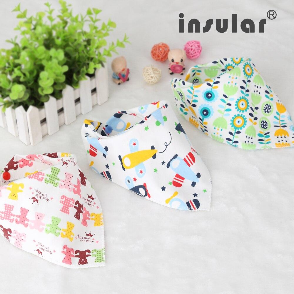 3pcs/Set Cute Cotton Baby bibs Toddler Newborn Scarf Boys Girls Cartoon Feeding Towel Smock Infant Bibs Burp Cloths