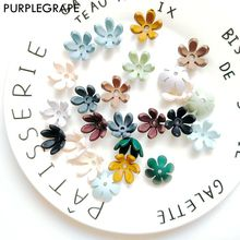 PURPLEGRAPE  Japanese and Korean fashion petal plastic matte texture earrings pendant DIY handmade jewelry accessories 8 packs