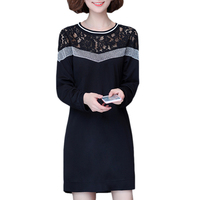 2017 Fashion Girl Brief Bright Wire Lace Dress Women Vintage Slim Long Sleeve Hollow Out Black