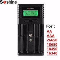 Soshine Smart Battery Chargers with LCD Display and Car Charger For Li ion Ni MH AA AAA 26650 18650 18490 16340 LiFePO Battery