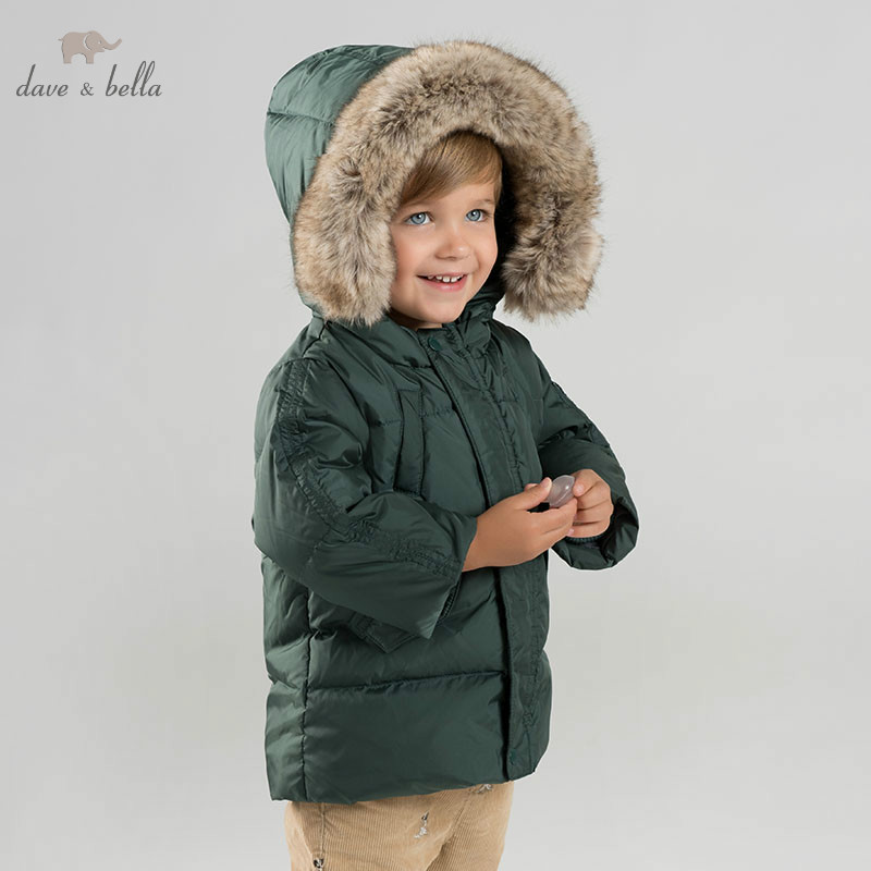 DB8828 dave bella baby boy down jacket children hooded outerwear infant toddler boutique 90% duck down padding coat with big fur