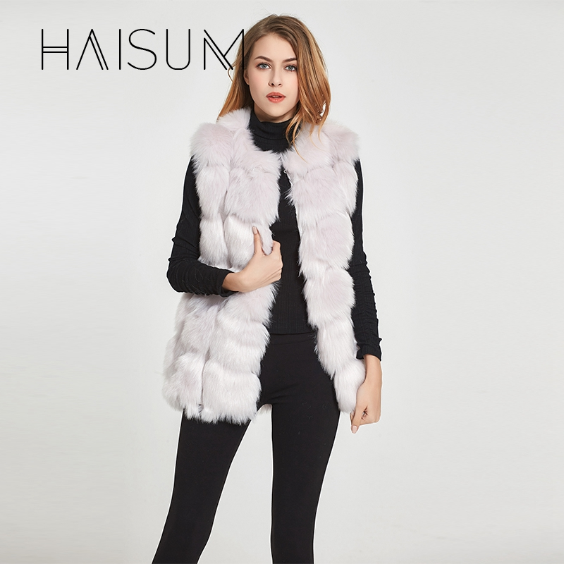Haisum High quality Fur Vest coat Luxury Faux Fox Warm Women Coat Vest Winter Fashion fur
