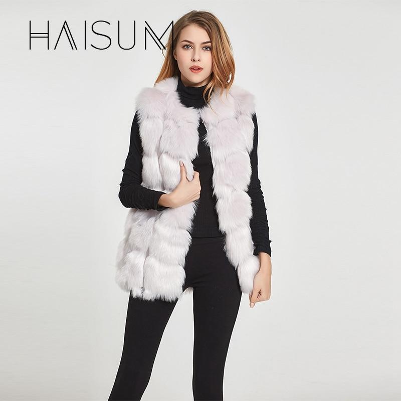 Haisum Yüksek kalite Kürk Yelek ceket Lüks Faux Fox Sıcak Kadın - Bayan Giyimi - Fotoğraf 1
