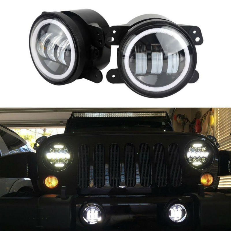2PCS 30W 4inch LED Passing Light DRL with White Amber Halo Ring LED Fog Signal Lamp
