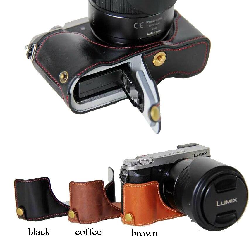 Classical PU Leather Camera Bag Half Case Cover For Panasonic Lumix DMC-GX80 DMC-GX85 GX80 GX85 Camera Half Body Set