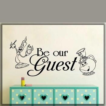 Be Our Guest Wall Decal Beauty The Beast Home Art Decal waterproof vinyl Wall Decor stickers Boy Girl Room Decor Mural G527 1