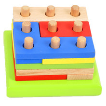 Free shipping, wholesale and wooden toys, intelligence blocks combined geometry shape matching educational toys children