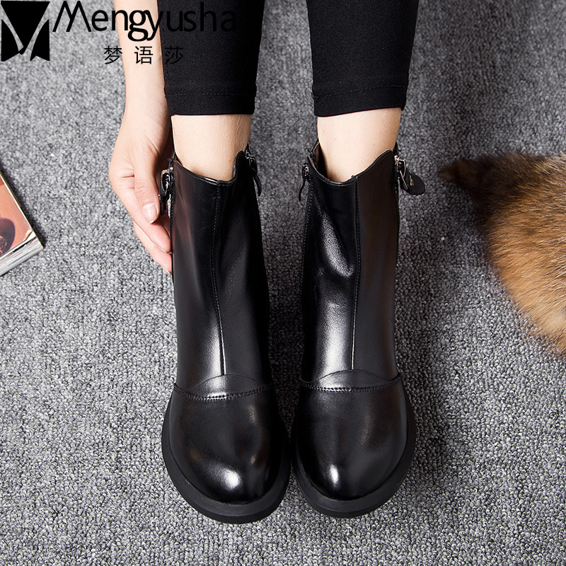 New Spring Women Shoe Martin Boots Genuine Leather Ankle Shoes Winter Snow Shoes Casual Zipper Retro Women Short Boots Lady 2017 new anti slip women winter martin