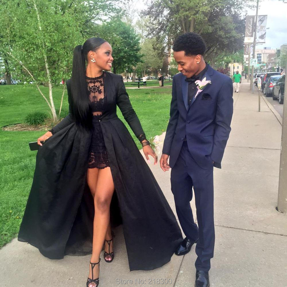 2 pieces Black Lace Short Prom Dresses long sleeves with Long ...