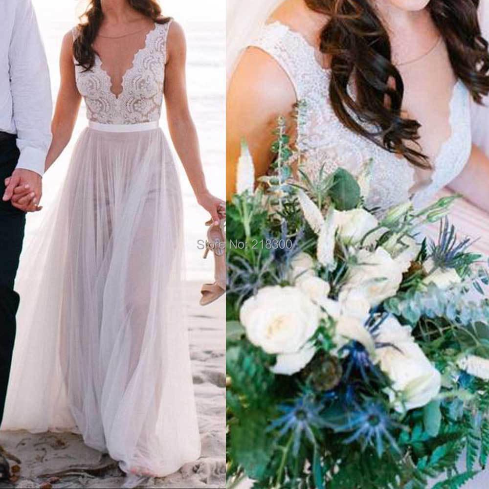 Beach Wedding Dresses Nude Lining