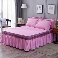 Luxury Lace Bedding Bed Skirt set 3pcs Bedspread Bed Linen Pillowcase Princess Bedclothes bed cover King Queen