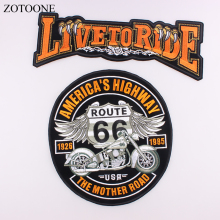 ZOTOONE bordado águila Wing Rock motocicleta 66 American HIGHWAY grande Back Iron On parche ropa chaqueta motero Punk parche C