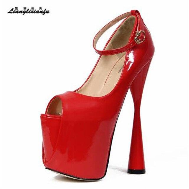 LLXF בתוספת: 34 45 46 47 פגיון קרסול רצועת פיפ טו סקסי 19cm נעליים עקב אישה פטנט עור קיץ סנדלי נקבה משאבות