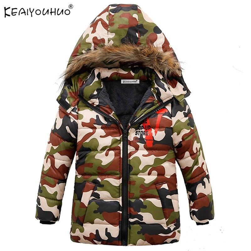 KEAIYOUHUO 2018 зимние куртки для пальто для мальчиков теплый хлопок Детский жакет для мальчика Детская верхняя одежда с длинными рукавами пальто ...