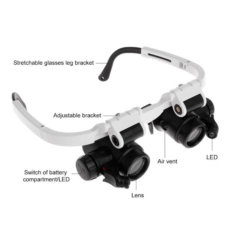 fa6676ff6 Headband Óculos Lupa Lupa Com Luzes LED 8X 15X 23X Iluminado Lupa Lupa de  Reparação do Relógio Da Lâmpada