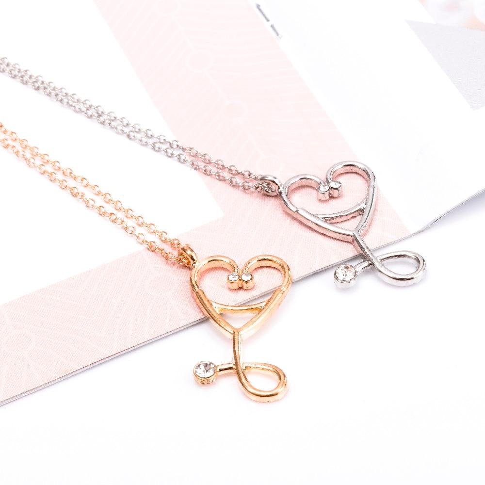 New Medical Doctor Nurse ER Stethoscope Heart Love Charm Pendant Chain Necklace
