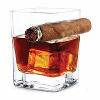 300ml Transparent Beer Wine Whiskey Glass Cup Bottle With Cigar Groove Rack Holder Ashtray Multi Functional