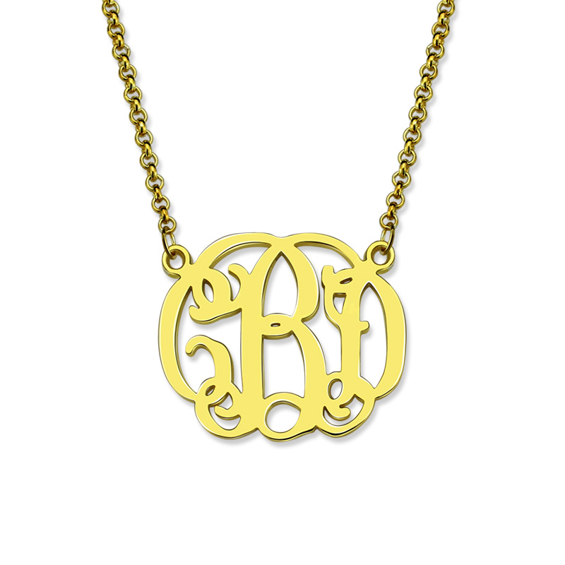 Gold Color Celebrity Monogram Necklace Handmade Monogrammed Cut Out Initial Pendant Bridesmaids Gift Mother's Day Gift