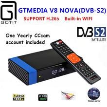 Gt 미디어 v8 노바 rca DVB S2 위성 수신기 h.265 내장 wifi + 1 년 유럽 스페인 cccam clines v8 super의 tv 박스 버전