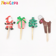 24pcs Christmas Santa Claus Trees Elk Cupcake Topper Picks Twilight Sparkle Ponies Wedding Decoration Party Favors