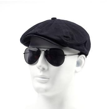 TUNICA Spring Autumn Cotton 100% Beret Casual Visor Cap For Men Fashion Vintage  Hat Men's Caps Adjustable Flat Berets 2019 autumn 100