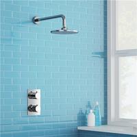 2 Dial 1 Way Bathroom Thermostatic Rain Shower Head Set Round Mixer Faucet Tap Shower Valve