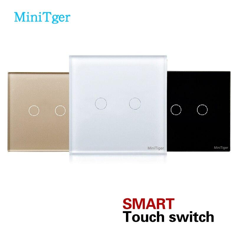 MiniTiger EU standard Weiß Kristallglas-verkleidung Berührungsschalter, 2 Gang 1 Way EU Licht Wand Touchscreen Schalter AC220V