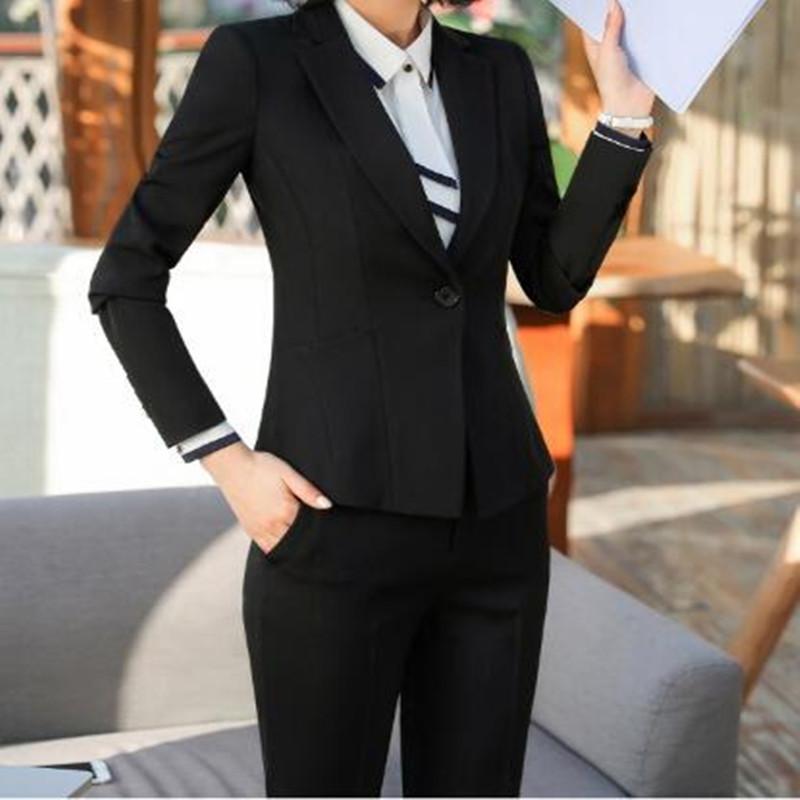 Womens Business Office Dress Support Custom Be Novel In Design Womens Suit Womens Solid Color Slim Suit Two-piece Suit jacket + Pants
