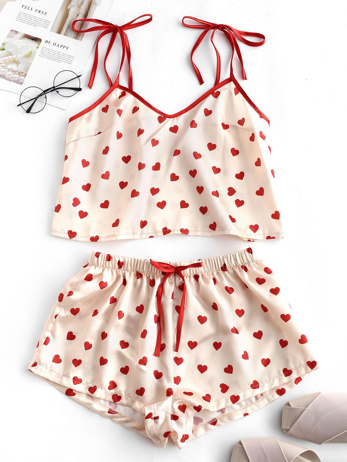 ZAFUL Summer Spaghetti Strap Heart Print Cami Bowknot Crop Top And Shorts   Pajama     Sets   Sleeveless Camisole Lounge Women Nightwear
