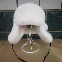 New Winter Boy Girl Kids Baby Children Russia Fur Real Rex Rabbit Hat Earmuffs Genuine Fur