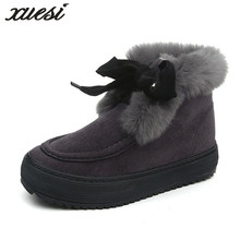 Фотография XUESI New Winter Plush Velvet Martin Boots Women Korean Warm Snow Boots Fashion Casual Shoes Woman Zapatos Mujer
