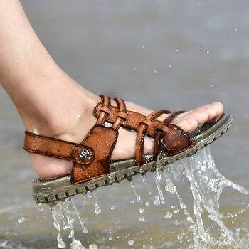 Men's Summer Sandals Leather Comfortable Casual Sandals Fashion Men Slippers Super Light Men Shoes Zapatillas Hombre