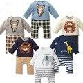 2015 mamelucos del bebé niños elefante Animal jirafa mamelucos de algodón de manga larga del bebé de la historieta ropa para la primavera envío gratis